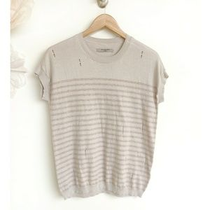 AllSaints Dory Tee Cream Pink Stripes Distressed
